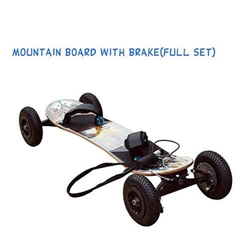 JINSUO Down Hill Maple Deck Mountainboard Off Road Grass Boarding Skateboard Dirtboard Mountain Board Truck Parts (Color: con freno)