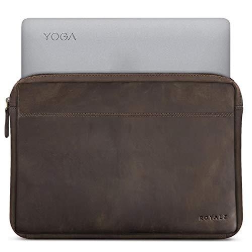 ROYALZ Tasche für Lenovo Yoga 920 Ledertasche (auch für Yoga 910, Yoga 900s & Yoga 900 geeignet) Lederhülle Hülle Schutztasche Schutzhülle Cover Sleeve Vintage Leder, Farbe:Dunkelbraun Matt
