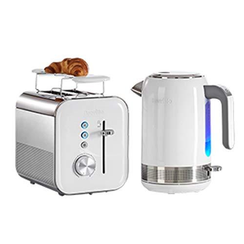 Breville VKJ944X Hochglanz Wasserkocher, weiß + 2 Scheiben Toaster, 850 W, Weiß