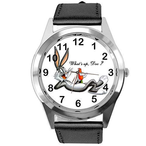 TAPORT® Bugs Bunny Quartz Horloge Disney Zwart Lederen Band