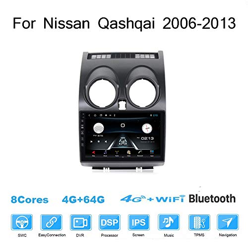 Android Radio Para Nissan Qashqai 2006-2013 Estéreo Pantalla Coche 9 Inch Pantalla Táctil Capacitiva Navegación Apple Carplay De Coche Audio FM/Am/RDS Radio Video Player Wifi Bluetooth SWC ,4g,4G+64G