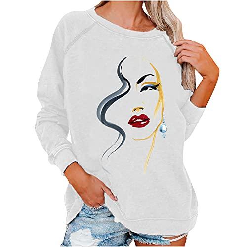 Camiseta sexy de manga larga para mujer con impresión de cara y cuello redondo, de moda, blusa, informal, patchwork, color blanco, azul, rojo vino, tallas S-XXL, Blanco, L