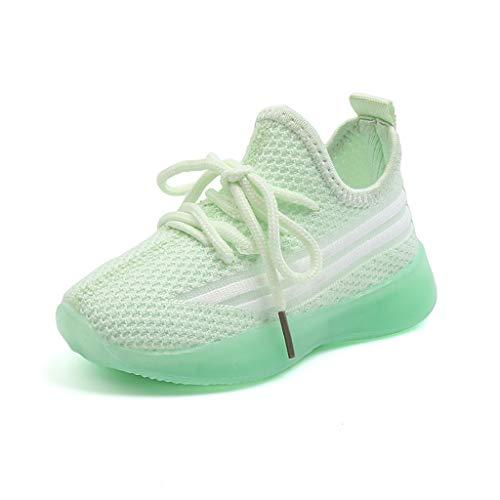 AIni Baby Schuhe 2019 Neuer Beiläufiges Mode Kinder Baby Mädchen Jungen Mesh Led Licht Laufen Sport Sneaker Schuhe Lauflernschuhe Krabbelschuhe Kleinkinder Schuhe (Grün, Numeric_22)