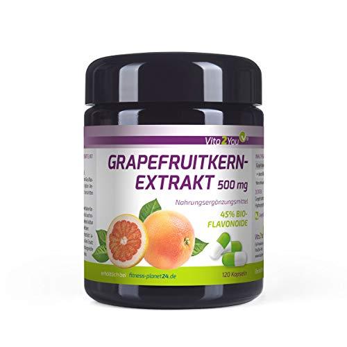 Grapefruitkernextrakt 500mg - 120 Kapseln - 45% Bio-Flavonoide - entspricht 225mg pro Kapsel - Hochdosiert - Miron Glas - Premium Qualität