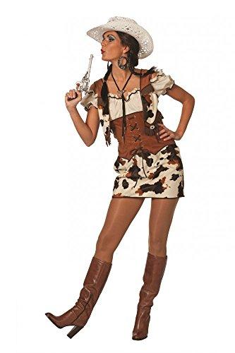 shoperama Damen-Kostüm Cowgirl Ringo Kleid mit Bluse und Weste Western Kuhmuster Rock, Größe:34