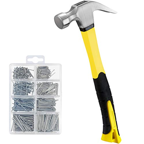 KURUI 16 oz Hammer & 560PCs Hardware Nail Assortment Kit,Claw Hammer Set with Anti-Slip Handle, Anti-Corrosive Galvanized 280 Picture Hanging Nails & 280 Finishing Nails for Household and DIY