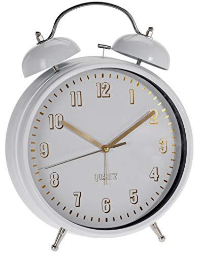 XXL analoger Quarz-Wecker aus Metall weiß lackiert, Retro Glockenwecker mit Doppelgong und Nachtlicht, Ø 23 x 30 cm