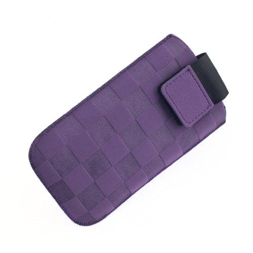 NFE² Etui offen - violett - mit Ausziehlasche & flacher Gürtelschlaufe für tecmobile Handy 150