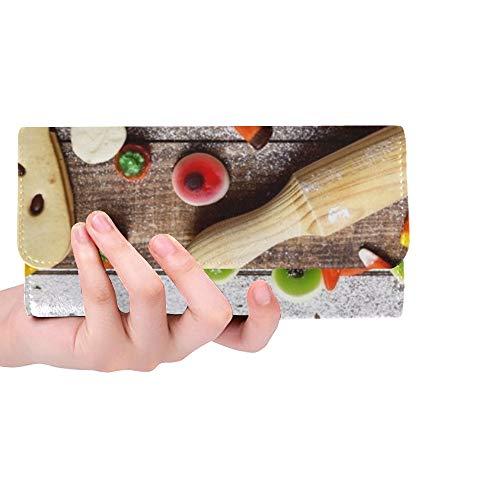 Einzigartige benutzerdefinierte Highangle Shot Holztisch besprüht Icing Frauen Trifold Wallet Lange Geldbörse Kreditkarteninhaber Fall Handtasche