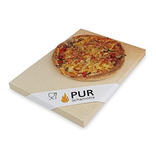PUR Schamotte® Pizzastein Grill Gasgrill Backofen Eckig 40 x 30 cm x 25 mm Lebensmittelecht