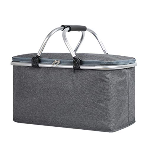EXQULEG Cesta de pícnic, cesta térmica para la compra, nevera con aislamiento, bolsa térmica para el transporte de alimentos (gris, 28 x 23 x 20 cm)