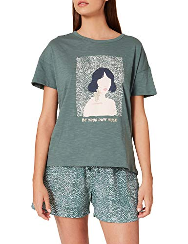 Women' Secret Pijama Corto algodón orgánico Estampado Verde, M para Mujer