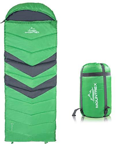MOUNTREX® Deckenschlafsack für Camping, Outdoor & Festival - 3 Jahreszeiten Warmer Schlafsack 205 x 75cm - 1.6 Kg - Koppelbar (Links)