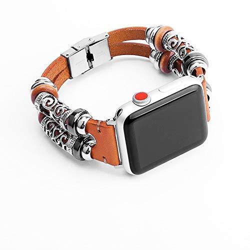 Compatibel met Apple Watch strap 38mm / 40mm / 42mm / 44mm koeienhuid en metalen band, Chinese stijl holle dubbele ring riem compatibel met iWatch serie 5/4/3/2/1 Hoge kwaliteit