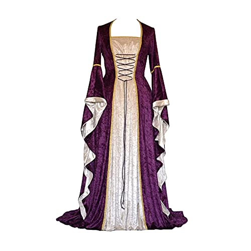 Womens Medieval Renaissance Dress Halloween Cosplay Costumes Irish Retro Gown Long Over Dress Purple
