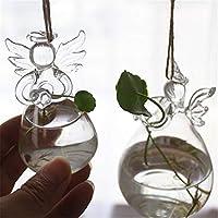 壁に取り付けられた花瓶 天使クリスタルガラスの壁掛けテーブルの花花瓶の人工植物の結婚式の家の装飾 家の装飾の壁掛け花瓶 (色 : Clear, Size : 8cm)