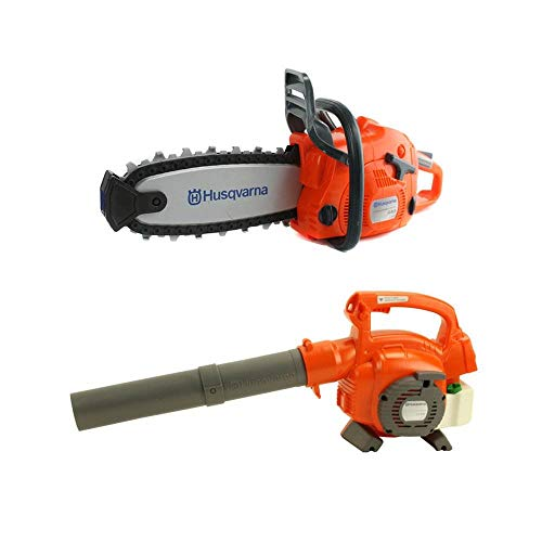 Husqvarna 125B Kids Toy Battery Operated Leaf Blower & Chainsaw Pretend Play Set