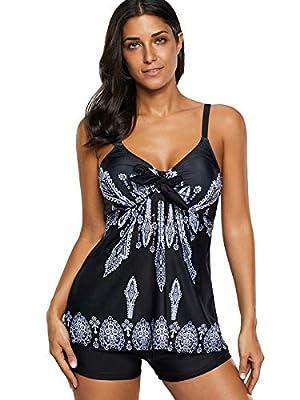 Zando Womens Spaghetti Strap Printed Swimsuits 2 Piece Bikini Padded Tank Top Tankini Swimsuits For Women Black Floral Print Medium (US 8-10)