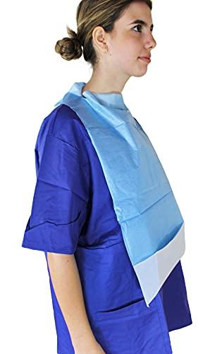 Medi-Inn Einmal-Esslätzchen 64 cm x 36 cm | 50 Stück | Esslatz mit PE-Beschichtung und praktischer Auffangtasche | für Erwachsene, Senioren oder Kinder I Farbe blau