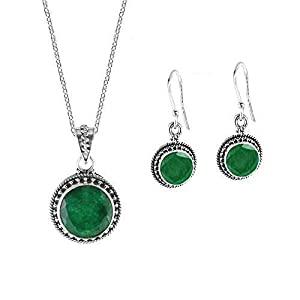 Raw Emerald Necklace and Earrings Set in Sterling Silver