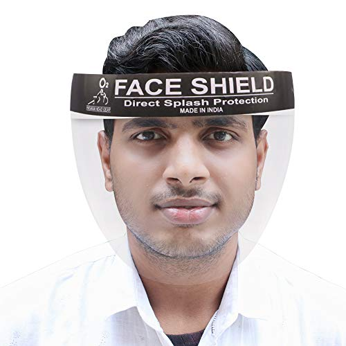 ORILEY O2 ORO201 2000 Micron Reusable Face Shield Unbreakable Full Face Cover Protection Shield Transparent Safety Visor for Front Line Warriors (1 PC)