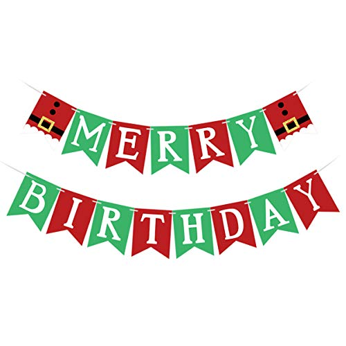 Red & Green Merry Birthday Banner, Happy Birthday Merry Christmas- Christmas Birthday Party Decorations, Christmas Happy Birthday Banner, Merry Birthday Decorations, Christmas Birthday Decorations for Home Office Fireplace Mantel