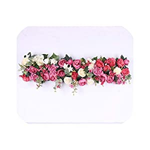 Heart-To-Heart 2Pcs/Lot 1M Road Cited Artificial Flowers Row Wedding Decor Flower Wall Arched Door Shop Flower Row Window T Station Christmas,003