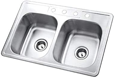 Kingston Brass Gourmetier GKTD33226 Studio Self-Rimming Double Bowl Kitchen Sink, 33-Inch L × 22-Inch W × 6-Inch H, Brushed S