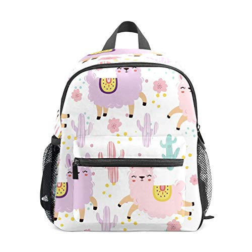 Kids Backpack Preschool Kids School Bag Boy Girl Lightweight Shoulder Book Bag for 1-6 Years Old Perfect Back Pack for Toddler to Kindergarten Alpacas Llamas Purple Pink Cactus