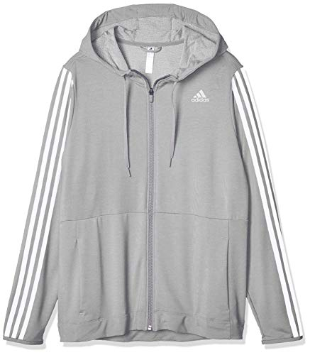 adidas Damen 3-Streifen Training Kapuzenjacke, Medium Grey Heather, XS