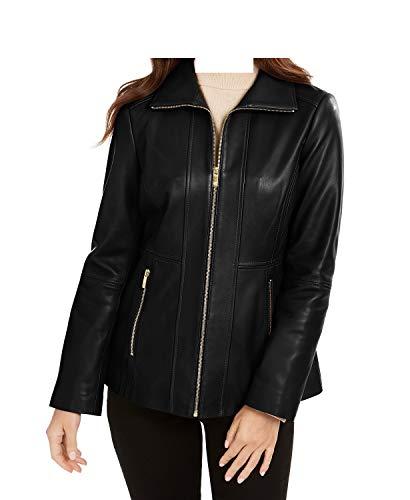 Anne Klein Zip-Front Leather Jacket-Black-S