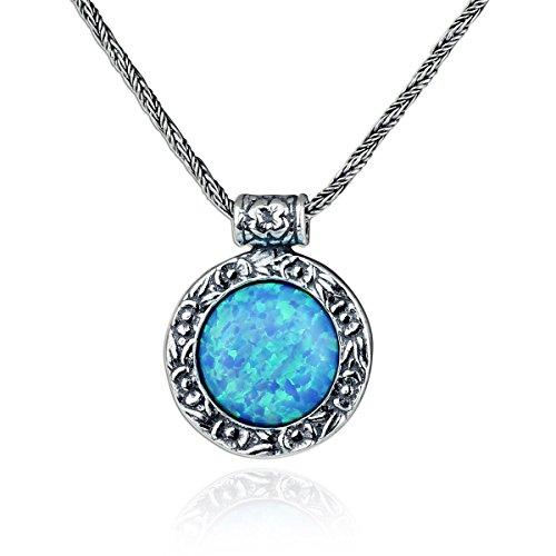 Stera Jewelry Antique Style 925 Sterling Silver Created Blue Fire Opal Pendant Necklace, 20 Inches