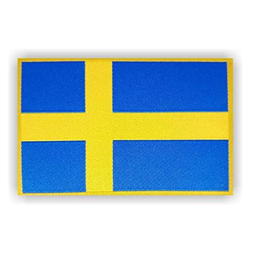 generisch 2 x Schweden Sweden Flagge Patch ca.8cm x 5cm Aufbügler Aufnäher mit Spezial-Klebstoff mühelosaufbügeln