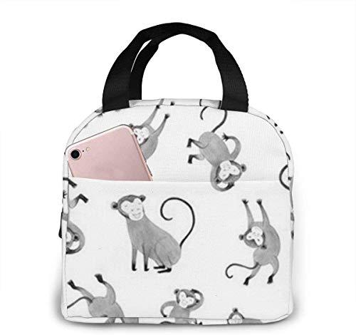 Bolsa de almuerzo de mono de dibujos animados en blanco y negro para mujeres,niñas,niños,bolsa de picnic aislada,bolsa gourmet,bolsa cálida para el trabajo escolar,oficina,camping,viajes,pesca