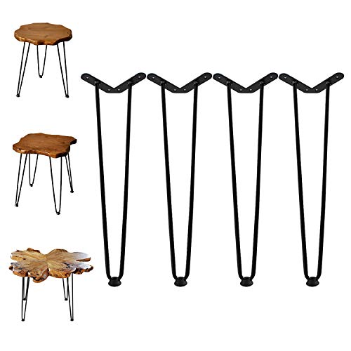 "Welland 19' Satin Black Hairpin Metal Legs 1/2"" Diameter Set of 4 with Free Screws Use to Home DIY Projects for Furniture"