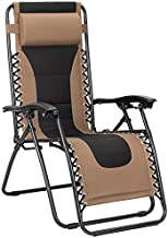 Flamaker Oversize Patio Zero Gravity Chair Padded Adjustable Recliner Outdoor Lounger Chair with Headrest for Poolside, Yard and Camping (Brown)