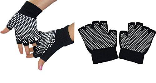 Fingerless Exercise Non Slip Yoga Pilates Gloves with Silicone Dots (Black Gloves)