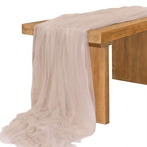 Ling's moment Tüll-Tischläufer, 76,2 x 495,3 cm, extra lang, für Hochzeit, Empfang, Tisch, Party, Brautparty, Dekoration (schimmernde Dune, 4,8 m)
