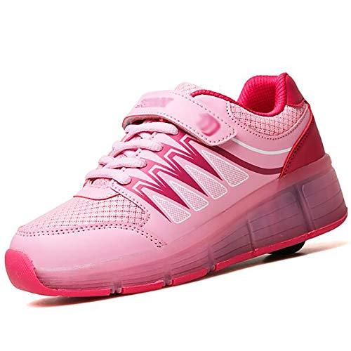 WANGT Zapatos de Roller,Led Luces USB Cargable Patines Deportes Zapatos Rueda única Running Zapatillas para Gimnasia Niños Niña,Rosado,39