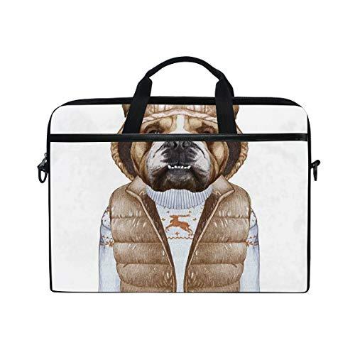 VICAFUCI New 15-15.4 Zoll Laptop Tasche,Umhängetasche,Handtasche,Städtischer Welpe als Mensch in der Daunenweste und in der Weihnachtsstrickjacke