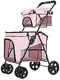 XJYXH Chariot à poussette pour animaux de compagnie Poussette pour animaux de compagnie, chariot à poussette de chat double chien, chariot de jogging à 4 roues de chien de compagnie, pliant Prame Bugg