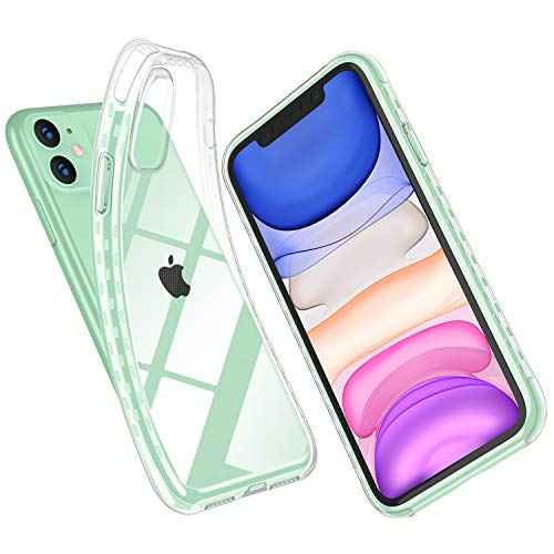 iPhone 11 Case, Cyrstal Clear Case Full Body Shockproof Protection Soft Scratch-Resistant TPU Anti-Yellow Support Wireless Charging Cover for iPhone 6.1 inch, Clear (Clear)