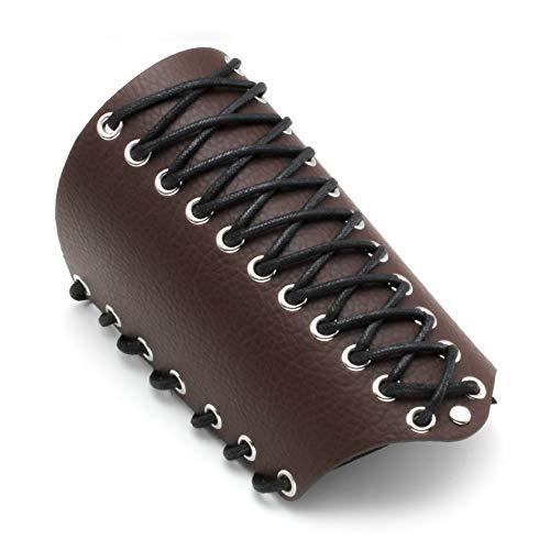 MILAKOO Unisex Lederhandschuh für Männer Frauen Armband Breite Armschiene Arm Rüstung Manschette Braun