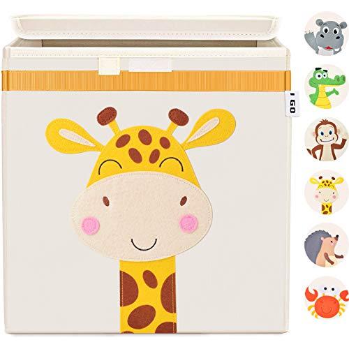 I GO Aufbewahrungsbox Kinder Spielzeugkiste Spielzeug Box mit Deckel 33x33x33cm für Kinderzimmer Rega, Giraffe