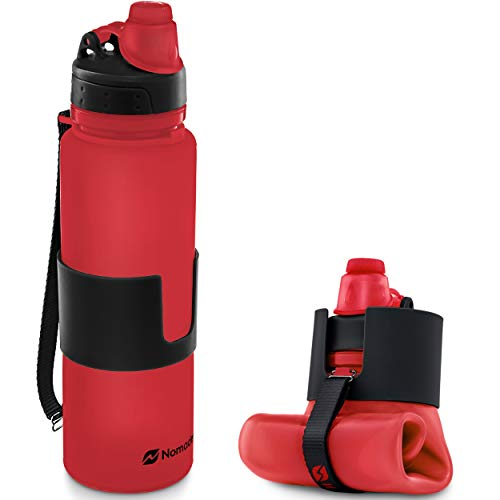 Nomader Botella de Agua Plegable - Flexible con Tapa de Rosca a Prueba de Fugas, Reutilizable para Deportes, Viajes, Senderismo, Cámping, Actividades al Aire Libre - Sin BPA, 650 ML (Rojo)