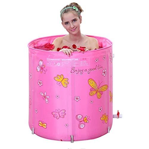 XYZMDJ Roze Draagbare Badkuip, Opvouwbare Badkuip voor Douchecabine, Verdikking Met Thermisch Schuim om Temperatuur te behouden, Gemakkelijk te installeren