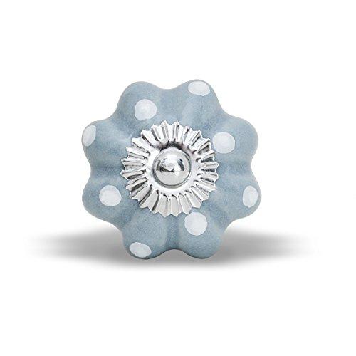 Möbelknopf Lilly grau mit weißen Punkten