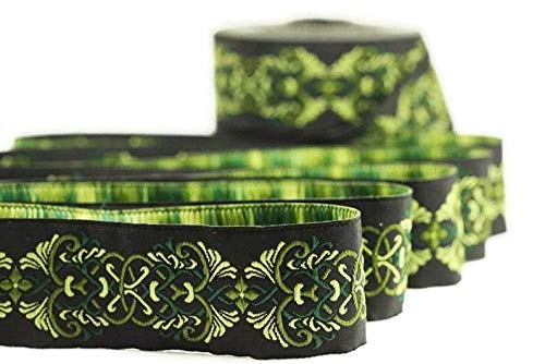 11 Yard Spool 0.98 inches Wide Celtic Knot Green Jacquard Ribbons Sewing Ribbon Jacquard Trim Craft Supplies Collar Supply Celtic Knot 25976