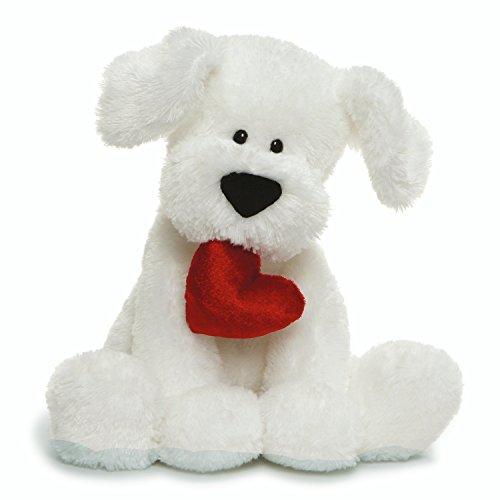 "GUND Valentine's Day Romeo Dog Holding Heart Plush Stuffed Animal, 10"" , White (4061387)"
