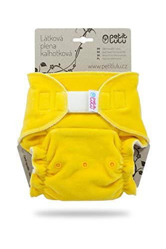 Petit Lulu Ajustado Nocturno Maxi Night XL (7-16kg) Pañales de Tela, Pañal de Bambú, Reutilizable y Lavable, Fabricado en Europa (Yellow)